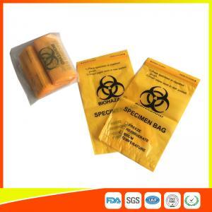 Laboratory Biohazard Specimen Transport Bags Reclosable 3/4 Layer Yellow Color