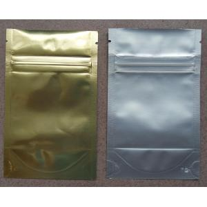 Aluminum Foil Zip Lock Bag Plastic Seeds Packaging , Golden / Silver